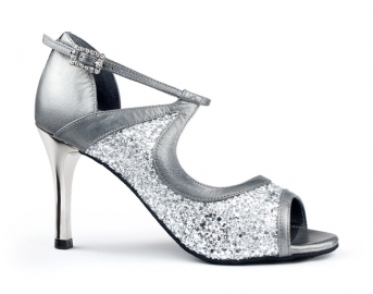 Portdance PD504 Tango Silver Leather Glitter